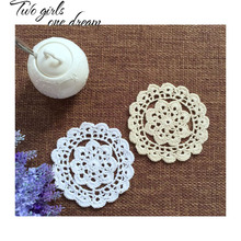 Handmade Crochet DIY Placemat Flower Dinner Decor Coaster Flower Holder Clothes Accessory 13CM  Table Lace Doily Cup Pad 30pcs