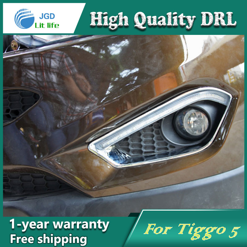 Free shipping !12V 6000k LED DRL Daytime running light case for Chery Tiggo5 2013 fog lamp frame Fog light Car styling<br><br>Aliexpress