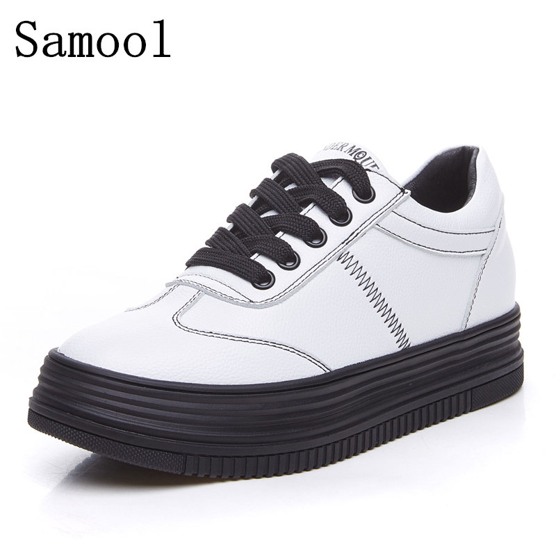 2017 New Spring Autumn With White Shoes Women Flat Genuine Leather Casual Shoes Female Board Shoes Casual Shoes Female Hot Sale<br>