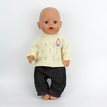 New 1set=sweater+jeans Doll Clothes  Wear fit 43cm Baby Born zapf