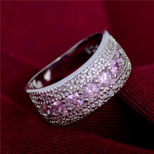 Atreus Pink Beads Silver Color CZ Nice Cubic Zirconia Engagement Wedding Party Ring Size 6-9 For Women Bridal Wholesale