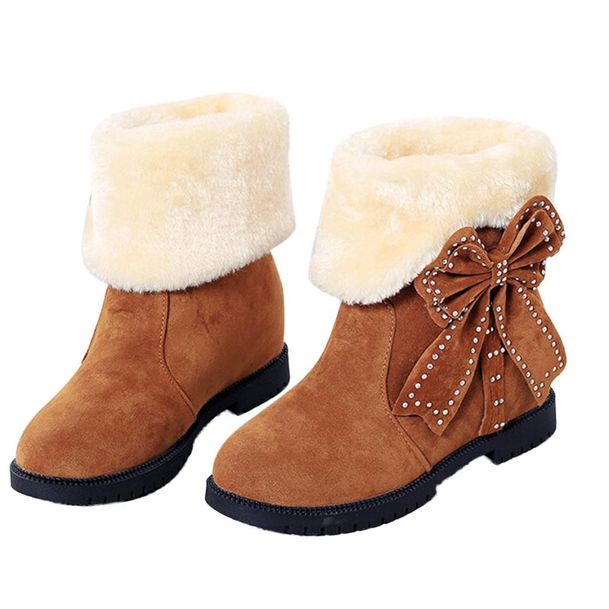 New 2017 Bowknot Warm Women Flats Shoes Snow Women Boots Autumn Winter Shoes Best Gift Drop Shipping Dec28<br><br>Aliexpress