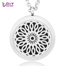 Excellent design 30MM Aromatherapy floating locket DIY diffuser pendant aromatic oil necklace fragrance locket with chain(China)