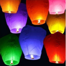 5pcs Colorful Flying Wishing Lamp Chinese Lantern Sky Lanterns Hot Air Lantern For Birthday Wedding Party Decoration GPD8026(China)