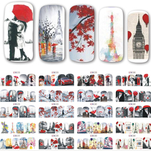 12 Designs/set New Decals Nail Art Water Romantic Red Beauty Lady Transfer Stickers Full Wraps Nail Tips Decoration SABN373-384(China)