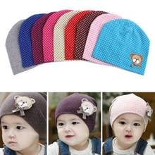 Dot Pattern Baby Hat Winter Knitted Baby Beanies For Child Kids Boys Girls Toddler Cotton Cap Infants Hat 2017(China)