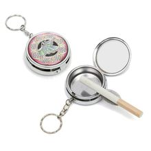Portable Mini Outdoors Stainless Steel Round Cigarette Ashtray Jewelry Box Storage Case Box With Keychain(China)