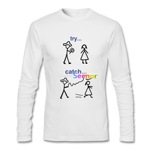 Fashion Java Nerd T Shirt Tv T Shirt Men O-neck Cotton Long Sleeve Try And Catch T Shirts Fitness Men(China)