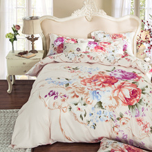 Good condition peony bedding sets king queen size quilt cover 100% cotton home decor printed 600TC duvet cover