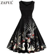 ZAFUL Plus Size Elegant Black Swan Print Vintage Dress V Neck Sleeveless High Waist Belts Swing Party Retro Feminino Vestidos(China)