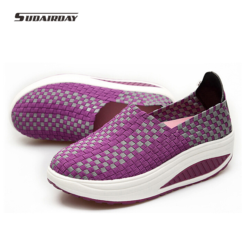 New 2016 Women Weave Swing Flat Platform Shoes Woman Swing Slimming Casual Shoes Womens Fashion Walking Shoes Chaussure Femme<br><br>Aliexpress