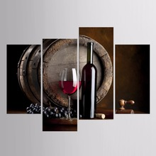 Hot Sales Framed 4 Panels Picture Red Wine Cup Still Life Series HD Canvas Print Painting Artwork Wall Art Canvas painting(China)
