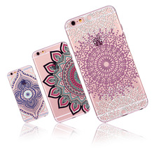 Case Cover for Apple iphone 6 6s Love Colorful Floral Paisley Flower Mandala Henna flowers Soft Sillicon Clear phone Accessories