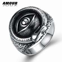 AMOURJOUX Punk Secret Bright Eye 316L Stainless Steel Wedding Rings For Women Men Fashion Unisex Party Ring