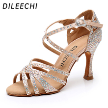 DILEECHI Latin dance shoes big small rhinestone shining Bronze Skin Black satin Women Salsa party Ballroom shoes Cuba 9cm heel(China)