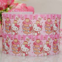 "free shipping 50 yards 1 "" sweet pink Hello kitty pattern print grosgrain tape cartoon ribbon with top quality"