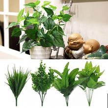 Artificial Plants Green Grass Plastic Flowers Garden Home Wedding Decoration Fake Foliage Store Dest Rustic Flores Wholesale(China)