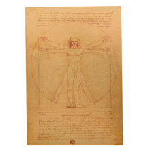 1 Pcs Vintage Leonardo Da Vinci Manuscript Vitruvian Man Posters Kraft Paper Home Wall Stickers Bedroom Decoration
