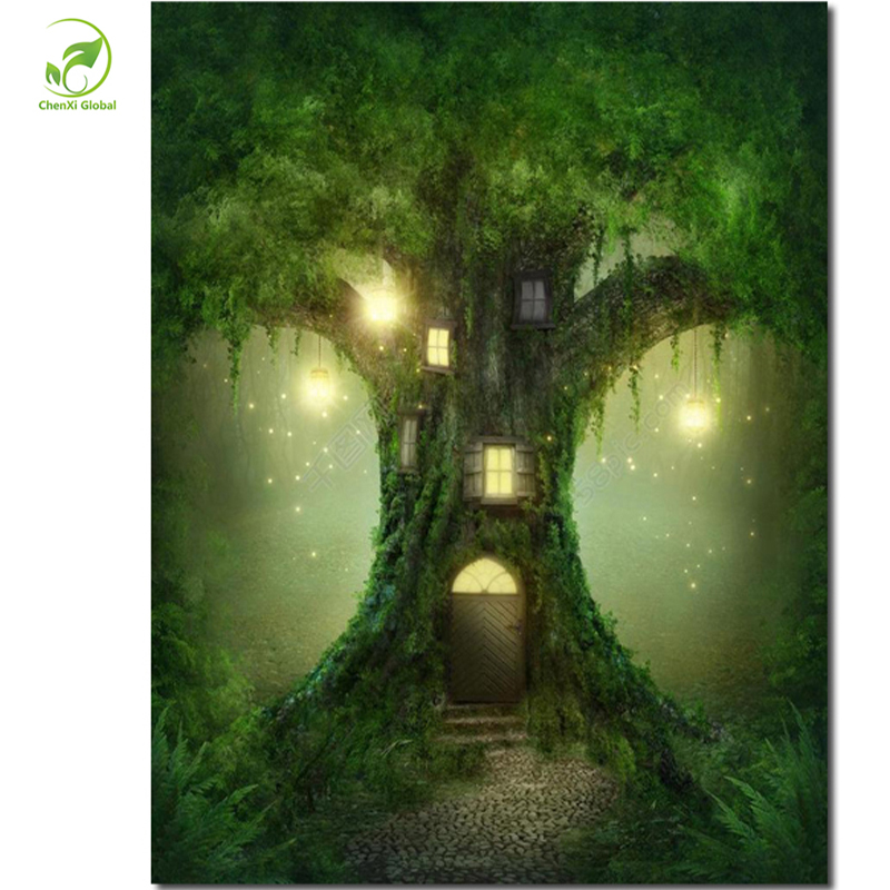 Frameless Europe DIY Painting By Numbers Hand Painted Canvas Paintings Tree House Wall Art Picture For Living Room Unique Gifts(China (Mainland))