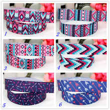 7/8'' Free shipping tribal arrow printed grosgrain ribbon headwear hair bow diy party decoration wholesale OEM 22mm B1411(China)
