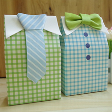 New Sale 20 pcs Little Man Blue Green Bow Tie Birthday Boy Baby Shower Favor Candy Treat Bag Wedding Favors Candy Box Gift Bag(China)