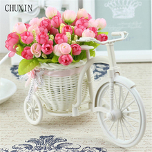Rattan Bike Vase with Silk flowers Colorful Mini Rose flower Bouquet Daisy Artificial Flores For Home Wedding Decoration(China)