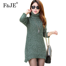 Autumn&winter New Fashion Women Turtleneck Wool Sweater Korea Brand Lady Casual Long Pullover Thicken Warmth Knitted Sweaters(China)