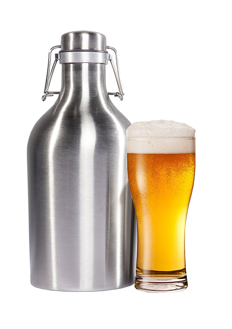 Realand Premium 64OZ Stainless Steel Homebrew Beer Growler 1.9L Secure Swing Top Lid Craft Beer Bottle Saver Flip Cap BPA Free(China (Mainland))