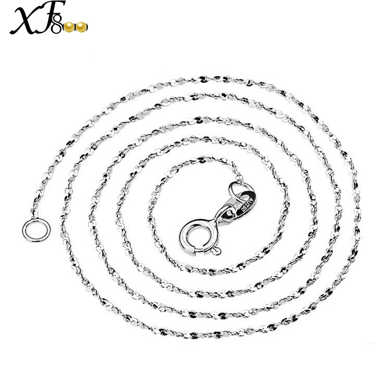 XF800 18K White Gold Chain Fine Jewelry Gold Necklace 40/45cm au750 Jewelry O Shape Wedding Party Gift For Women XFX311