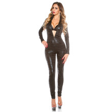 Buy new bright Leopard Print Long sleeves trousers Club open crotch bodysuit sexy lingerie porno bodystocking latex catsuit leather