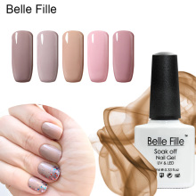 Belle Fille Nude Pink Gel Polish Nail Art Color Coat UV Gels Lacquer Beige Color Nude Pink Gel Lacquer Nail Polish Art Design