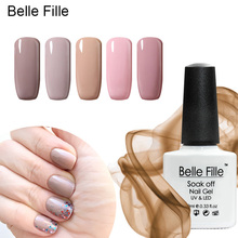 Belle Fille Nude Pink Gel Polish Nail Art Color Coat UV Gels Lacquer Beige Color Nude Pink Gel Lacquer Nail Polish Art Design(China)