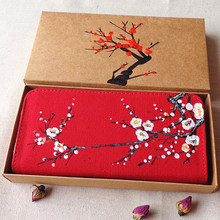 Chinese National Style Retro Women Wallet Hand-Painted Red Plum Flowers Cotton Clutch