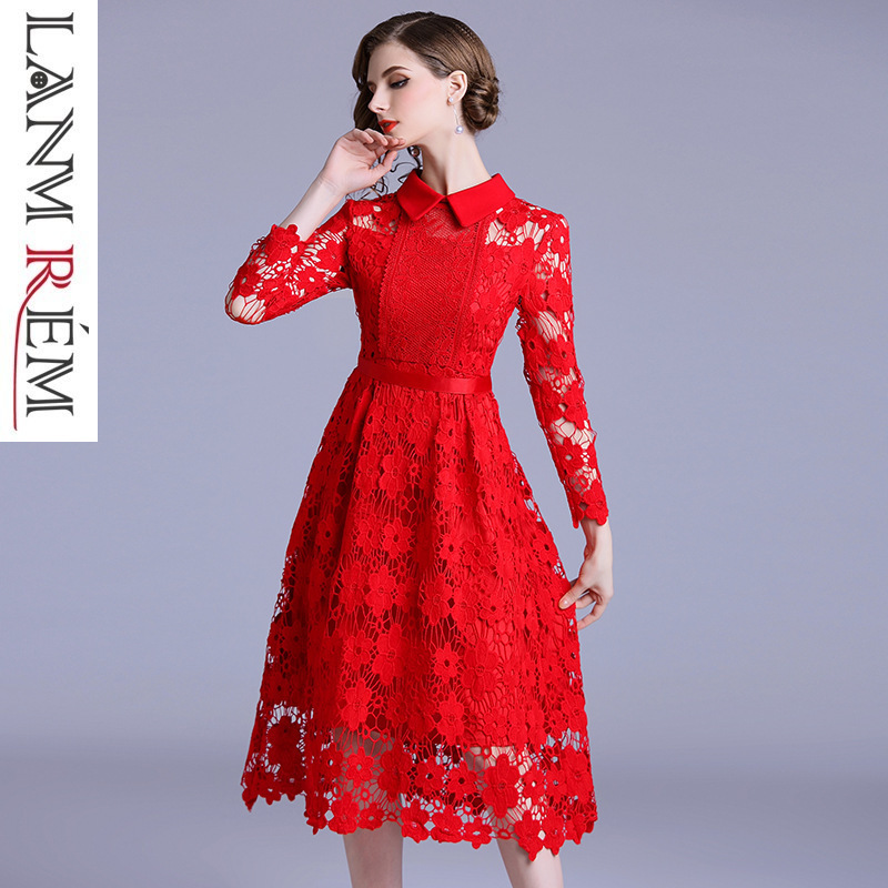 LANMREM 2019 New Fashion Turn Down Collar Hollow Out Lace Dress For Women Female's Red High Quality Cloth Hoodies Vestido YH596