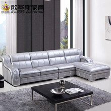 New model l shaped modern italy genuine real leather sectional latest corner furniture living room sex sofa set 636(China)