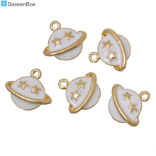 "Doreen Box Zinc Metal Alloy Charms Planet Saturn Gold color Pentagram Star Carved White Enamel 14mm(4/8"")x 13mm(4/8""), 20 PCs"