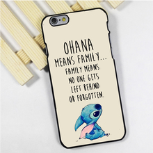 Fit for iPhone 4 4s 5 5s 5c se 6 6s 7 plus ipod touch 4 5 6 back skins phone case cover Ohana Means Family Lilo Stitch Inspired