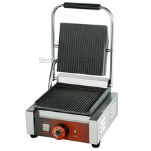 Single Head Contact Grill Electric Griddle with Double Groove Plates _Panini Grill Sandwich Maker(China)