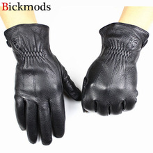 Guantes Leather Gloves Male Deerskin Fashion Stripes Style Wool Lining Spring And Autumn Warm Price Concessions Free Shipping(China)