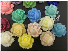 30pcs mixed color 16mm Quality resin flowers small rose ring accessories, diy handmade corsage headdress jewelry materials(China)