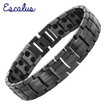 Channah 2017 Men High Power Magnetic Black Stainless Steel Bracelet Magnets Bracelets Fashion Bangle Jewelry Wristband Charm(China)