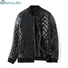 Grandwish Winter Warm Thick Leather Jacket Men Stand Collar Padded PU Leather Jacket for Men Men's Jacket Quilt Jacket,DA307(China)