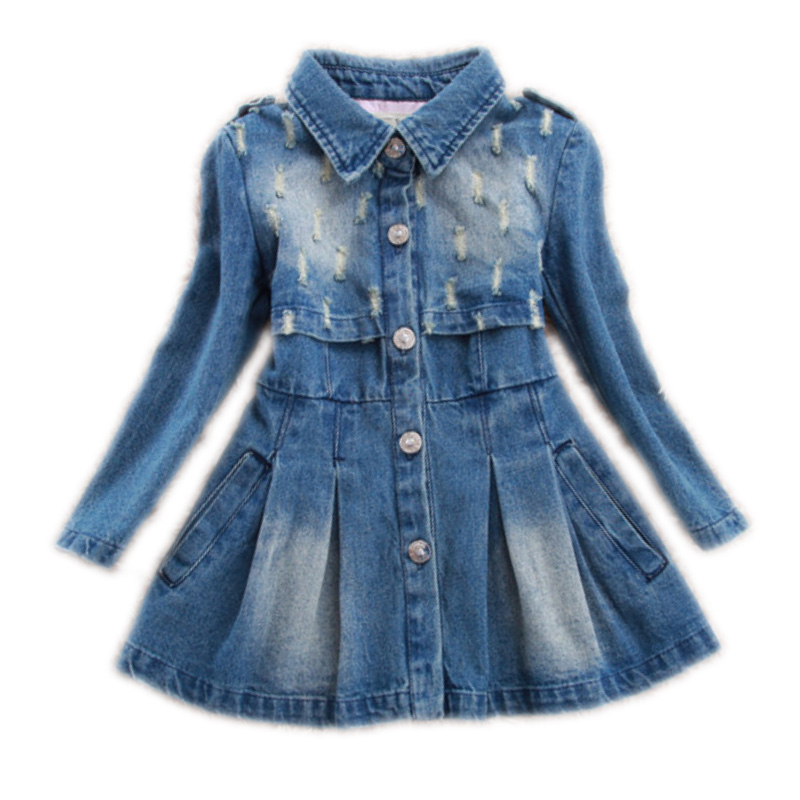 2017 Sping Autumn kids clothes children clothing Baby girls princess dress denim holiday jean coat dress Toddler girls clothing<br><br>Aliexpress