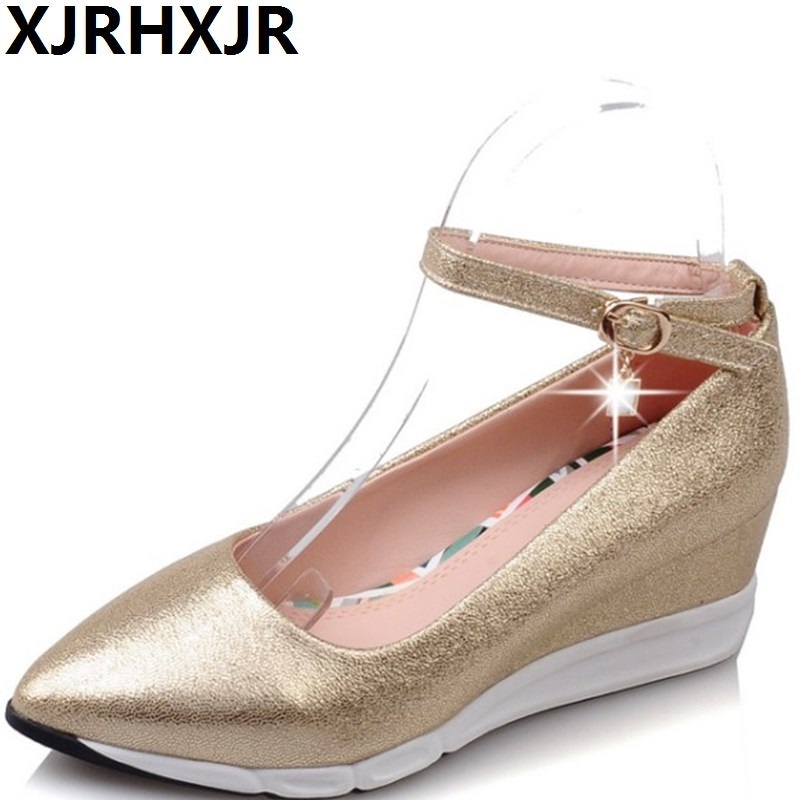 XJRHXJR Spring Autumn New Shoes Woman Gladiator Fashion Pointed Toe Wedges Heels Women Shoes Med Heel Comfort Platform Shoes<br>