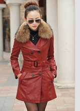 Turn-down Collar long jacket women 2017 large real fur collar leather jacket women fashion clothing outerwear female thick coats