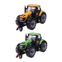 1:28 Mini Tractor Car Model Toy Simulated Pull Back Alloy Farmer Car Model with LED Lighting Music Sound for Kids Xmas Gift(China)