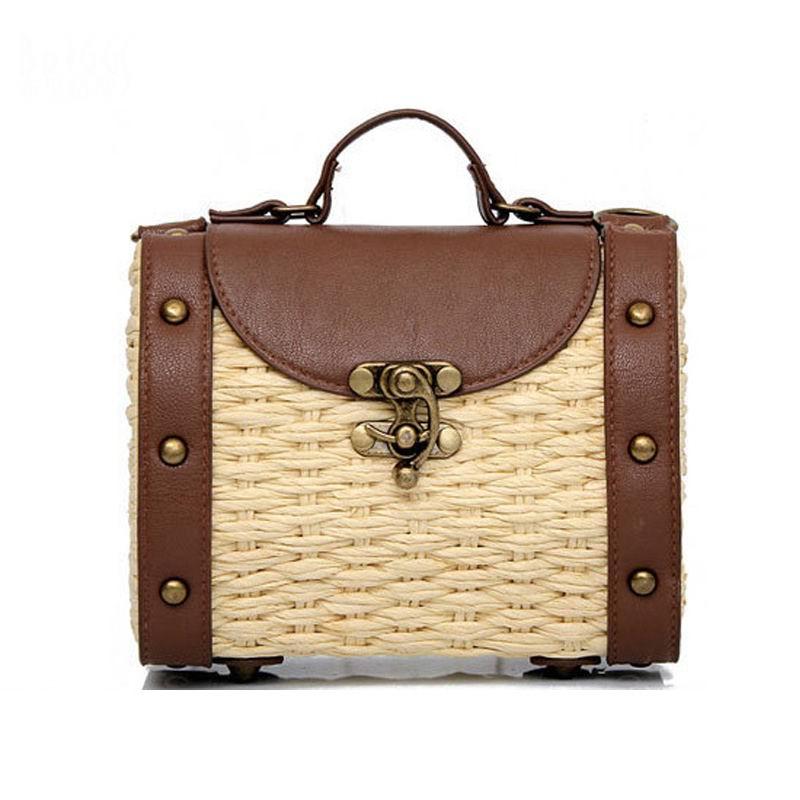 2017 New Fashion Women Handbags Vintage Handmade Straw Bag PU Leather Women Handbags Mini Lady Grass Weaving Bag Shoulder Bags<br><br>Aliexpress