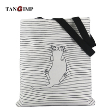 TANGIMP 2017 Cute Striped Napping Cat Cotton Canvas Handbags Eco Daily Female Single Shoulder Shopping Tote Women Beach Bags(China)
