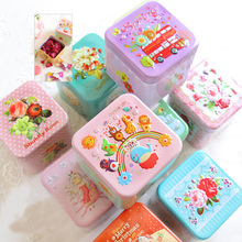 Exquisite Cartoon 3D Relief Square Candy Box Storage Tin Box Biscuit /Tea leaf Sundries Container Sealed Cans Gift Box V3327