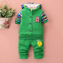 Wholesale -Winter baby boy flag suit Hoodie+vest+pants 3 pieces Thickened with velvet 6 colors 4s/l
